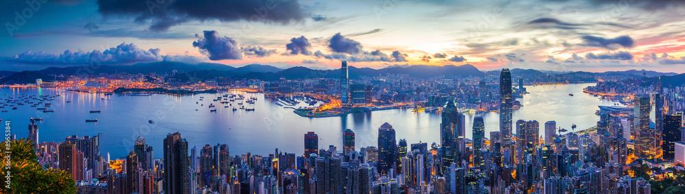 Fototapeta City and Harbor at dawn