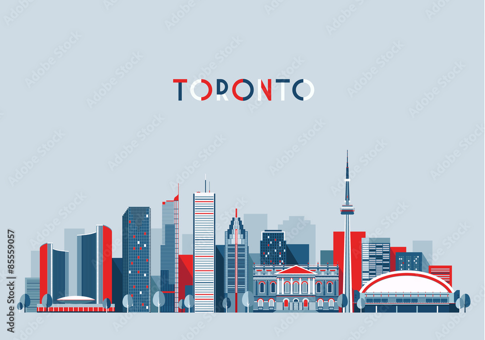Láminas Toronto Canada city skyline vector background Flat trendy ...