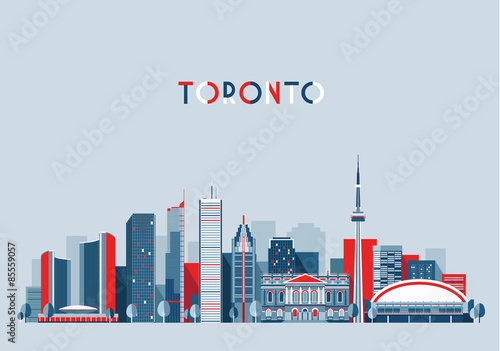 Toronto Canada city skyline vector background Flat trendy illustration Wallpaper Mural