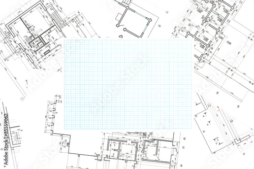 blue grid graph paper with blueprints background buy this stock