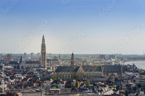 Foto op Plexiglas Antwerpen Aerial view on the Cathedral of Our Lady and the Church of Saint