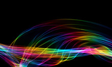 The Magical Form Of Rainbow Smoke. Abstract Black Background