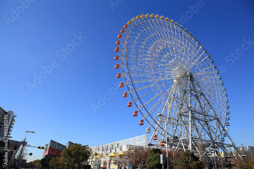 Poster Attraction parc Ferris Wheel - Osaka City in Japan