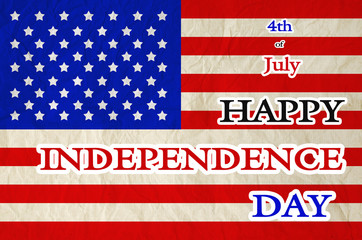 4th of july Happy Independence Day text on United States of Amer