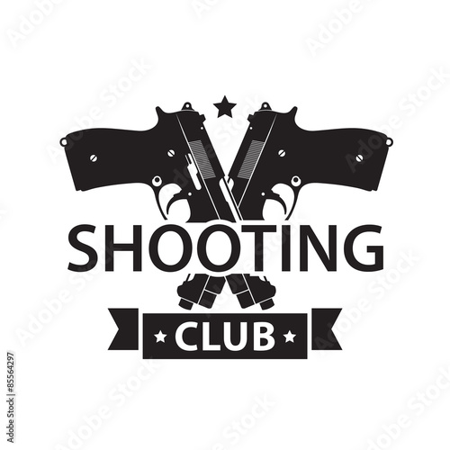 Photo Shooting Club, emblem with crossed pistols in black and white
