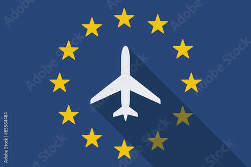 Foto  European Union  long shadow flag with a plane