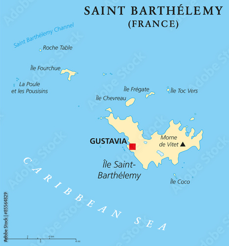 Capital Of France Map.Saint Barthelemy Political Map With Capital Gustavia Also Called St