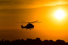 Silhouette Of Military Helicop...