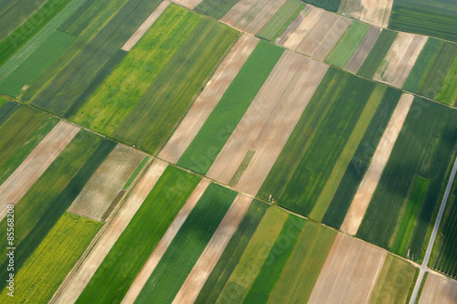 Poster Luchtfoto Aerial view of the countryside with village and fields of crops