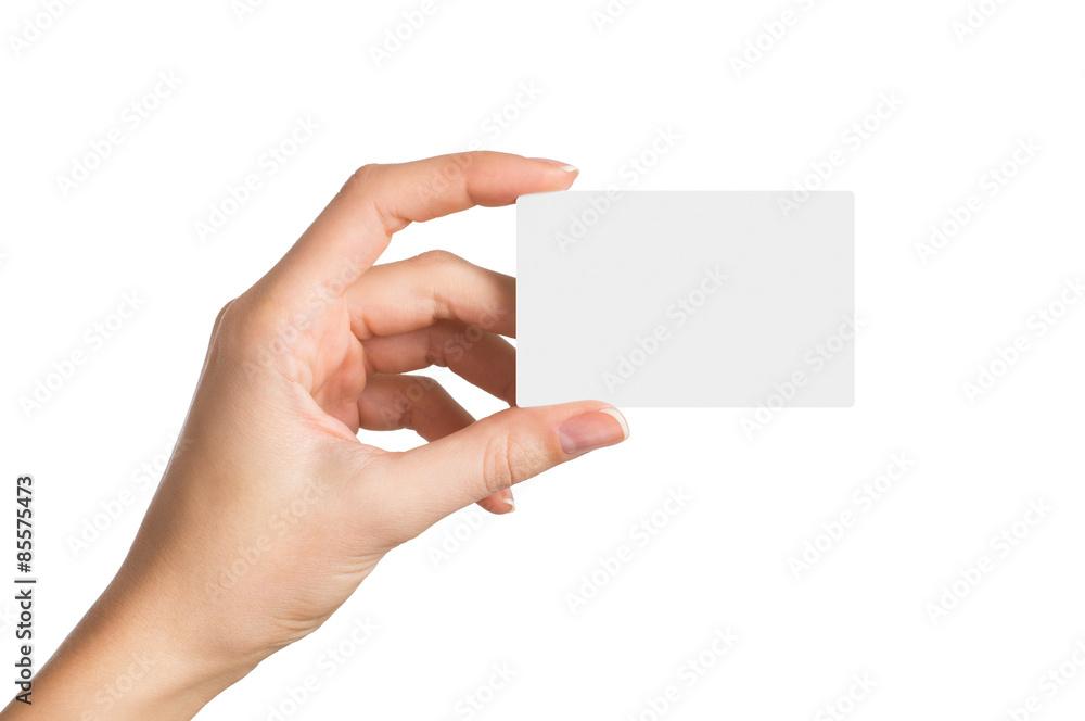 Fototapeta Hand holding blank business card