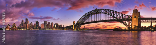 Poster Bridge Sydney CBD Milsons Left Pier panorama