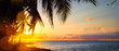 canvas print picture - Art Beautiful sunrise over the tropical beach