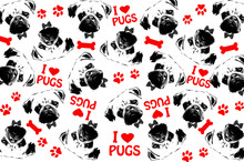 Black,red And White Graphic Style Pug Dogs Background