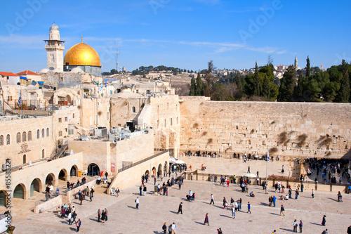 Naklejka premium Ściana Płaczu i Kopuła na Skale w Jerozolimie, Izrael