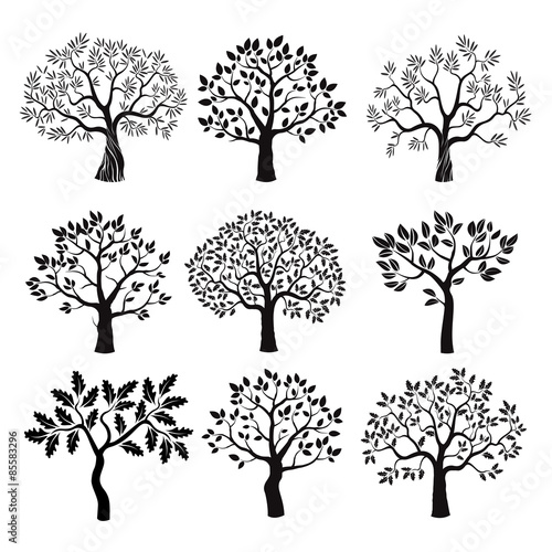Set of black vector trees.