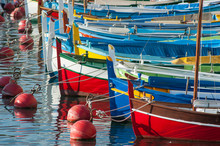 Colourful Boats Docked In The Port Of Nice In The South Of France