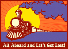 All Aboard And Let's Get Lost! Retro Puffing Steam Train Engine At Sunset, Express Train