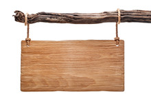 Light Wood Rustic Signboard Isolated