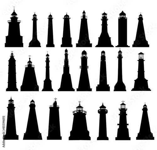Valokuva  Lighthouse Silhouette Set