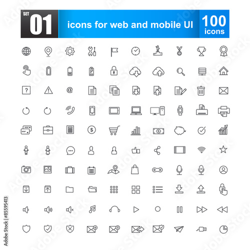 Fotografie, Obraz  Simple line icons for web design and mobile ui vector illustrati