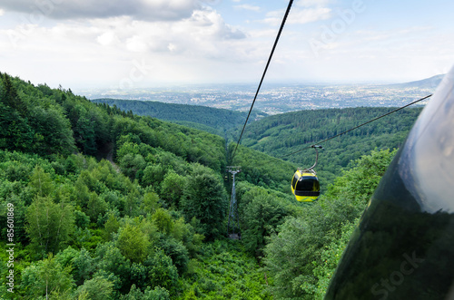 Cableway wagon view in Polish mountains