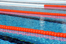 View Of Lane Rope In An Outside Olympic Pool.