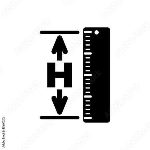 Fotografía  The height icon. Altitude, elevation, level, hgt symbol. Flat