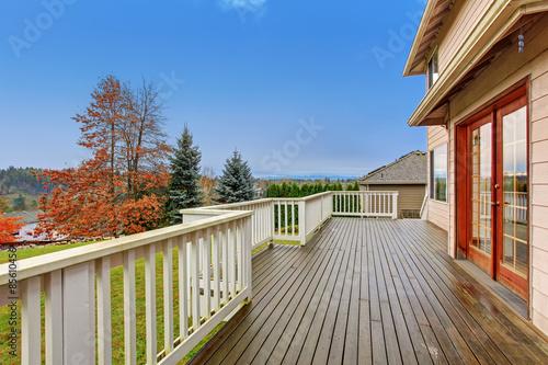 Beautiful backyard with deck. Fototapeta