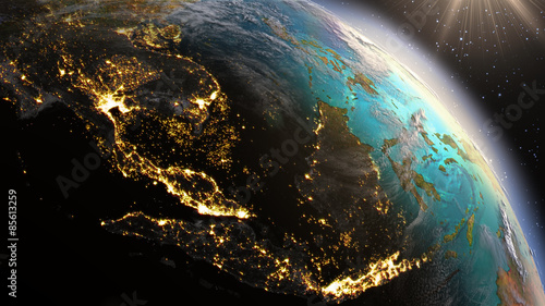 Fotografie, Obraz  Planet Earth South East Asia zone using satellite imagery NASA