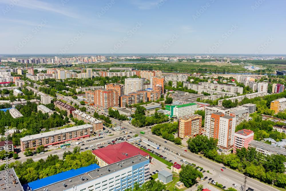 Fototapeta Aerial view on Melnikayte street. Tyumen. Russia - obraz na płótnie