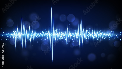 Canvas Print blue audio waveform background