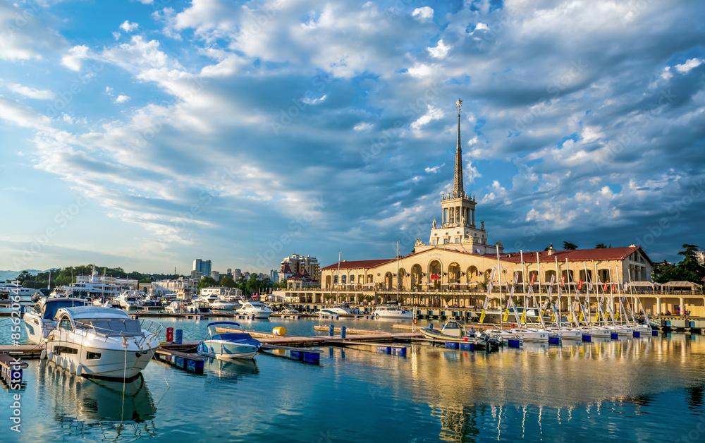 Fototapety, obrazy: Sochi cloud summer city buildings sea black russia urban panoram