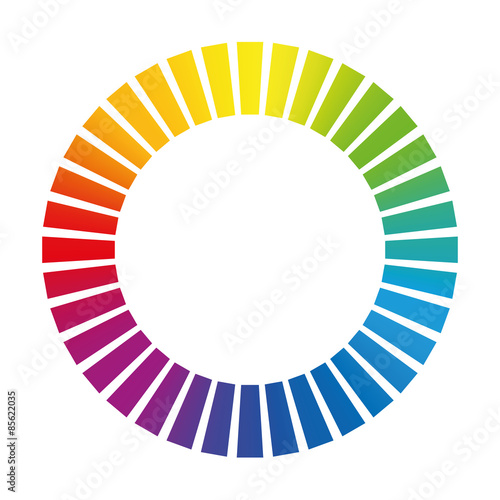 Dashed circle or buffer circle - rainbow colored gradient ring Wallpaper Mural