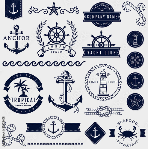 Fotografiet Sea and nautical design elements. Vector set.