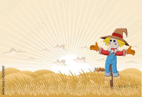 Fotografie, Obraz Farm landscape with cartoon scarecrow