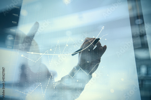 Photo  businessman hand working with new modern computer and business s