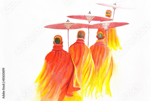 Carta da parati  Thai monks on white background