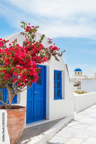 Staande foto Athene White-blue architecture on Santorini island, Greece