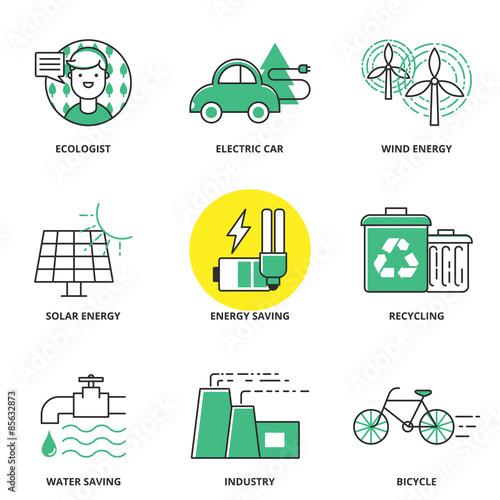Valokuva  Ecology vector icons set: ecologist, electric car, wind energy,