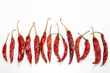 Chilli Red Dried Pepper Isolated On White Background