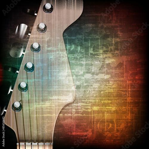 Fototapeta Abstrakcyjne tło grunge z gitarą elektryczną