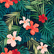 canvas print picture - Bright colorful tropical seamless background with leaves and
