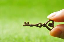 緑の背景と小さな鍵