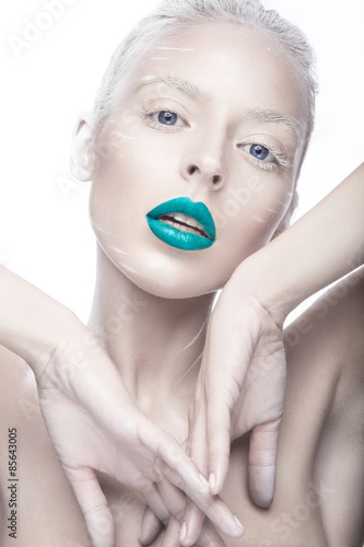 Fototapeta  Beautiful girl in the image of albino with blue lips and white eyes