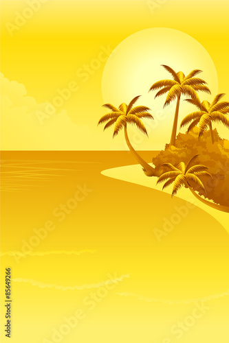 Deurstickers Zwavel geel Tropical landscape