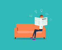 People Business Reading Newspaper On Sofa