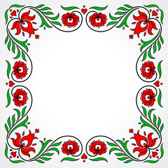 Obraz na SzkleEmpty frame with traditional Hungarian floral motives