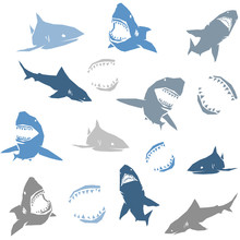 Sharks Silhouettes Seamless Pattern. Isolated Blue On White