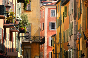 Panel Szklany Uliczki Old town architecture of Nice on French Riviera