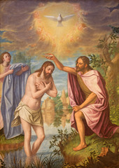Naklejka Granada - Baptism of Christ painting in Monasterio de la Cartuja